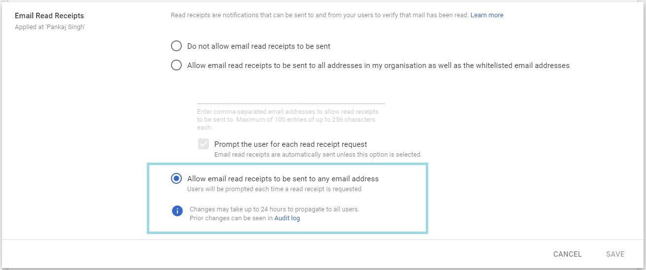 enable gmail read receipt