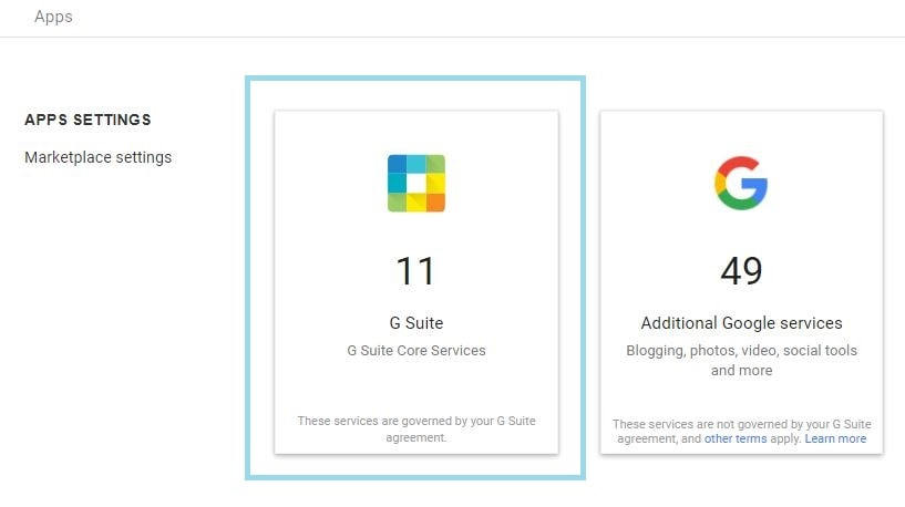 g suite core services settings
