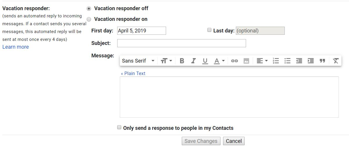 google workspace auto reply