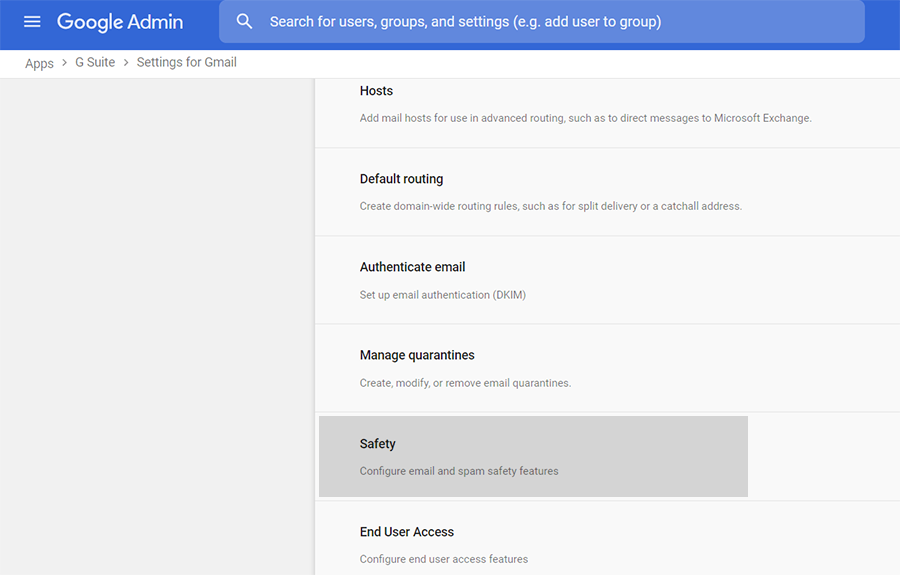 safety setting on g suite