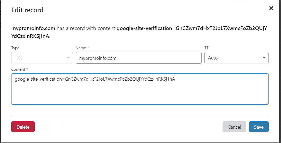 Adding domain TXT records for G Suite