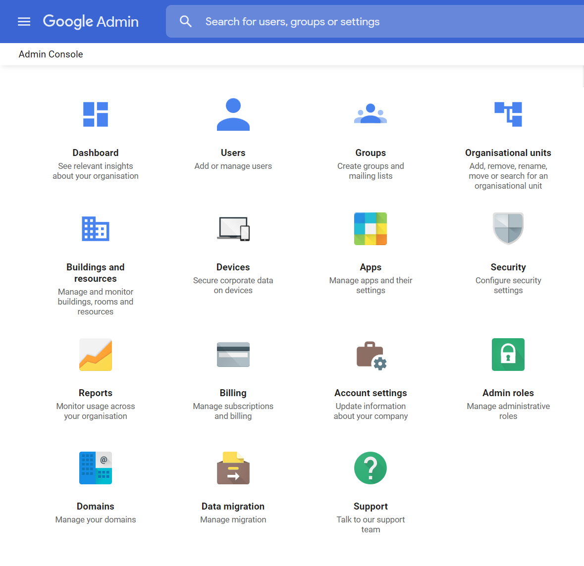 google workspace admin console