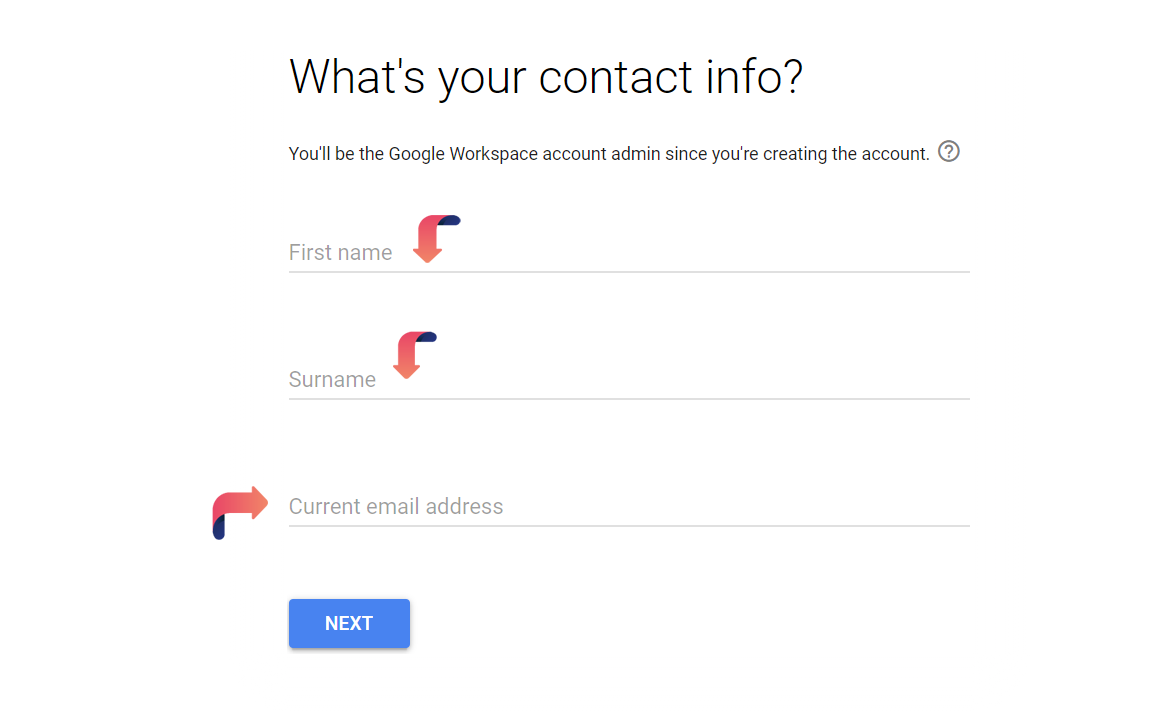 google workspace admin contact info