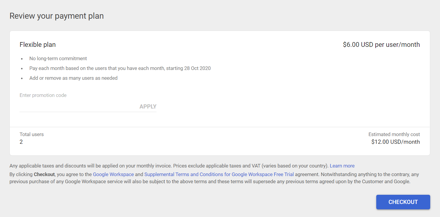 apply promo code on google workspace
