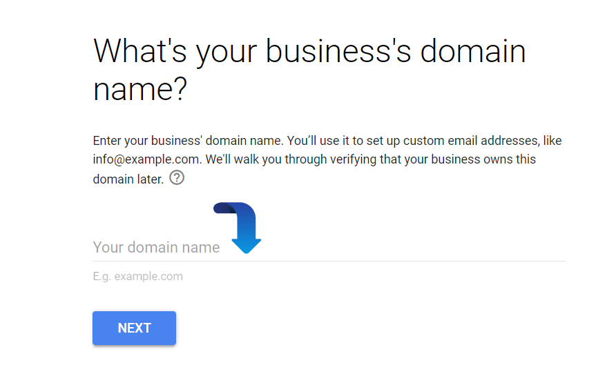 enter domain name on google workspace account
